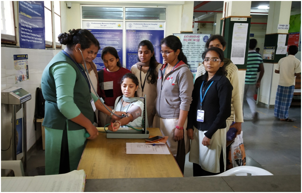 Students undergoing general health checkup at SVYM Hospital, Sargur