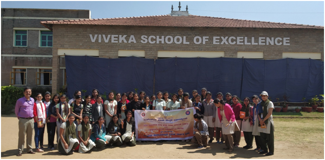 Students and coordinators in front of Viveka School of ExcellenceS