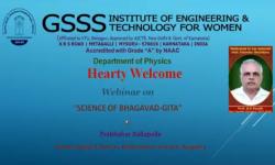 Department of Physics,  GSSSIETW, Mysuru had organised a Webinar titled