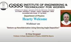 Dept. of Physics,  GSSSIETW, Mysuru had organized a Webinar
