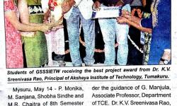 Child Borewell Rescue Robot Bags Best Project Award   Star of Mysore   14-05-2018