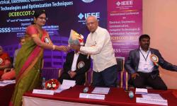 Mr. Chandra Shekar M A, Adviser,  GSSSIETW, Mysuru welcomed by Dr. Reshma Banu, Organizing Chair, Professor & Head, Dept. of ISE