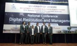 Students of 2nd semester MBA have participated in the 2 day National Conference on Digital Revolution and Management at B.N Bahadur Institute of Management Sciences University of Mysuru